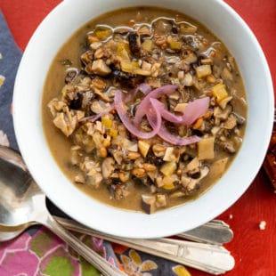 Mushroom Spelt Soup / Katie Workman / themom100.com / Photo by Cheyenne Cohen