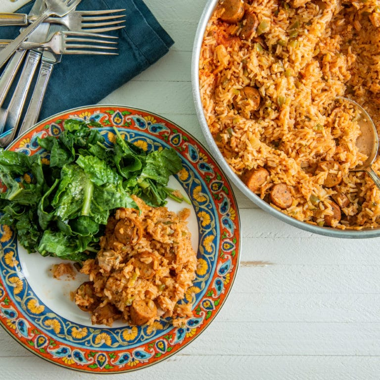 Shortcut Chicken and Andouille Jambalaya / Katie Workman / themom100.com / Photo by Cheyenne Cohen