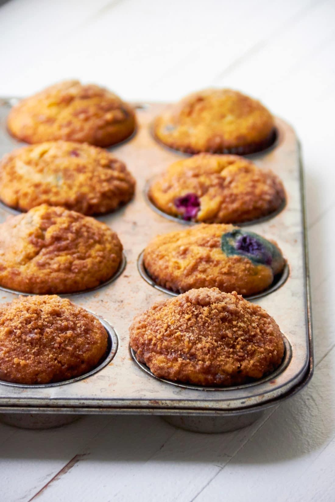 Berry Cinnamon Streusel Muffins / Katie Workman / themom100.com / Photo by Mia