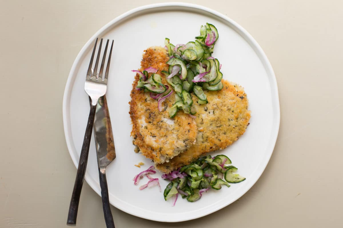 Pork Schnitzel with Quick Pickley Cucumber Salad / Katie Workman / themom100.com / Photo by Sarah Crowder