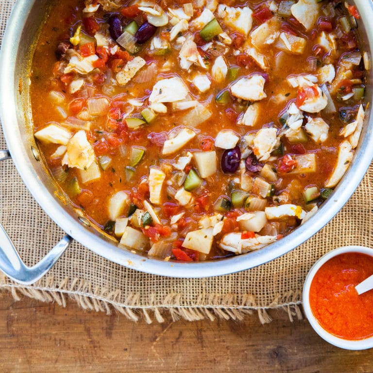 Provencal Fish Stew / Katie Workman / themom100.com / Photo by Carrie Crow