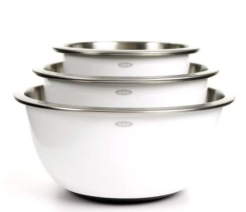 OXO Good Grips 3-Piece Stainless-Steel Mixing Bowl Set, White / amazon.com