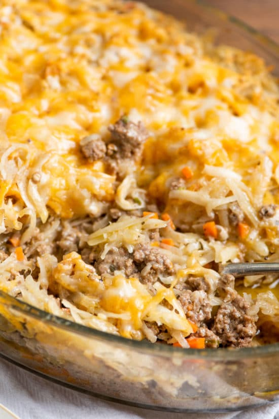 Cheesy Ground Beef and Hashbrown Casserole