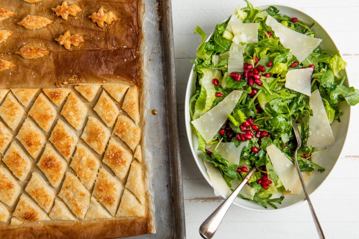 Green Salad with Pears, Parmesan and Pomegranate Seeds and Puff Pastry Croutons