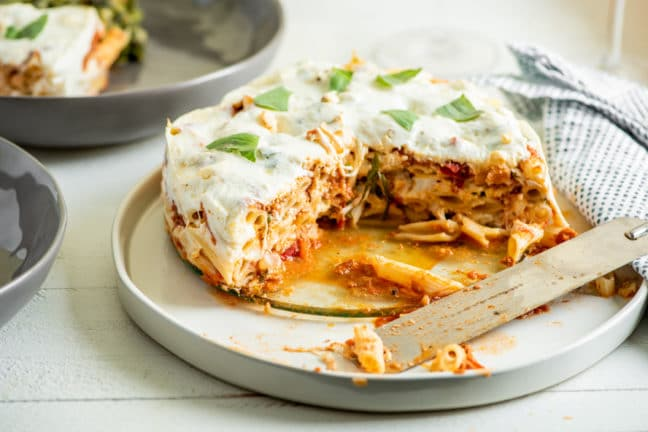 "Instant Pot Ziti ""Lasagna"" with Bolognese Sauce / Katie Workman / themom100.com / Photo by Cheyenne Cohen"