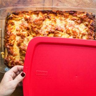 Lasagna with pyrex tupperware