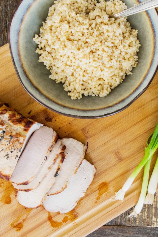 Grilled Pork Loin with Brown Rice
