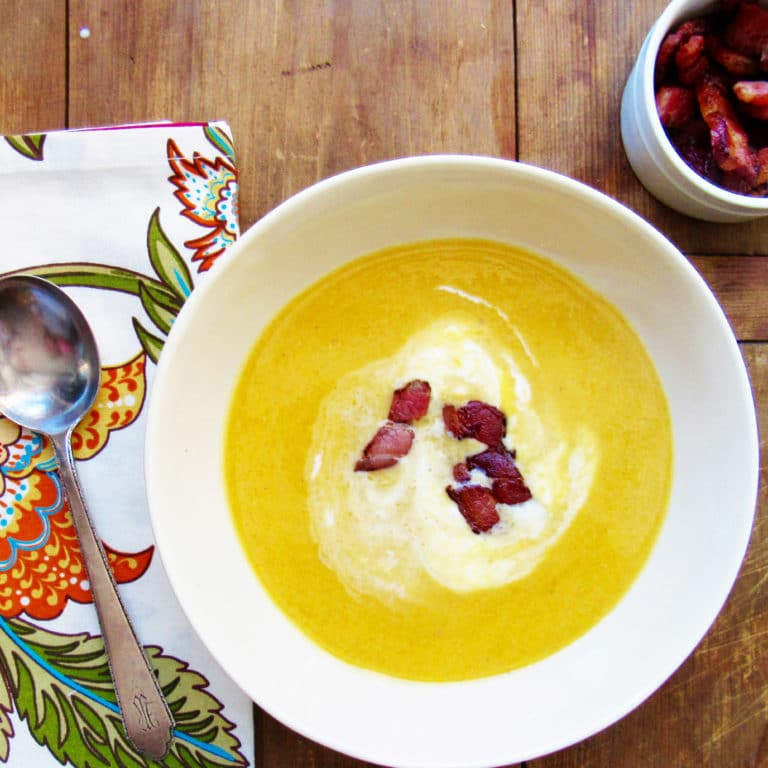 Roasted Butternut Squash Soup with Crème Fraiche / Katie Workman / themom100.com / Photo by Laura Agra