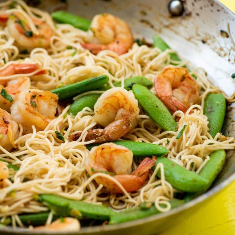 Shrimp, Sugar Snap Pea and Scallion Stir Fry with Miso Sauce