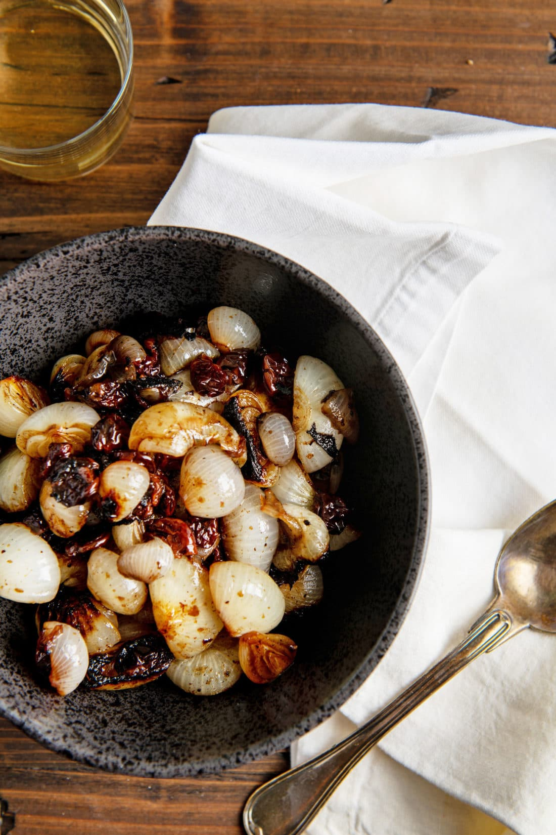 Braised Cipollini Onions with Dried Cherries