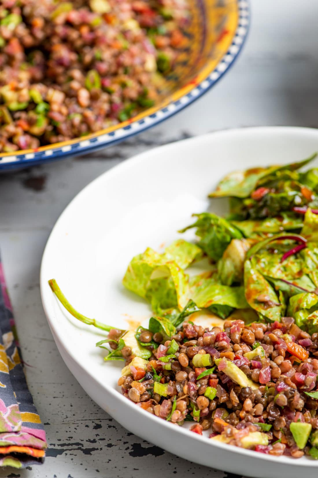 Lentil, Red Onion and Avocado Salad