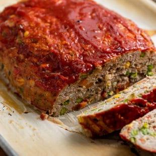 Vegetable Studded Turkey Meatloaf