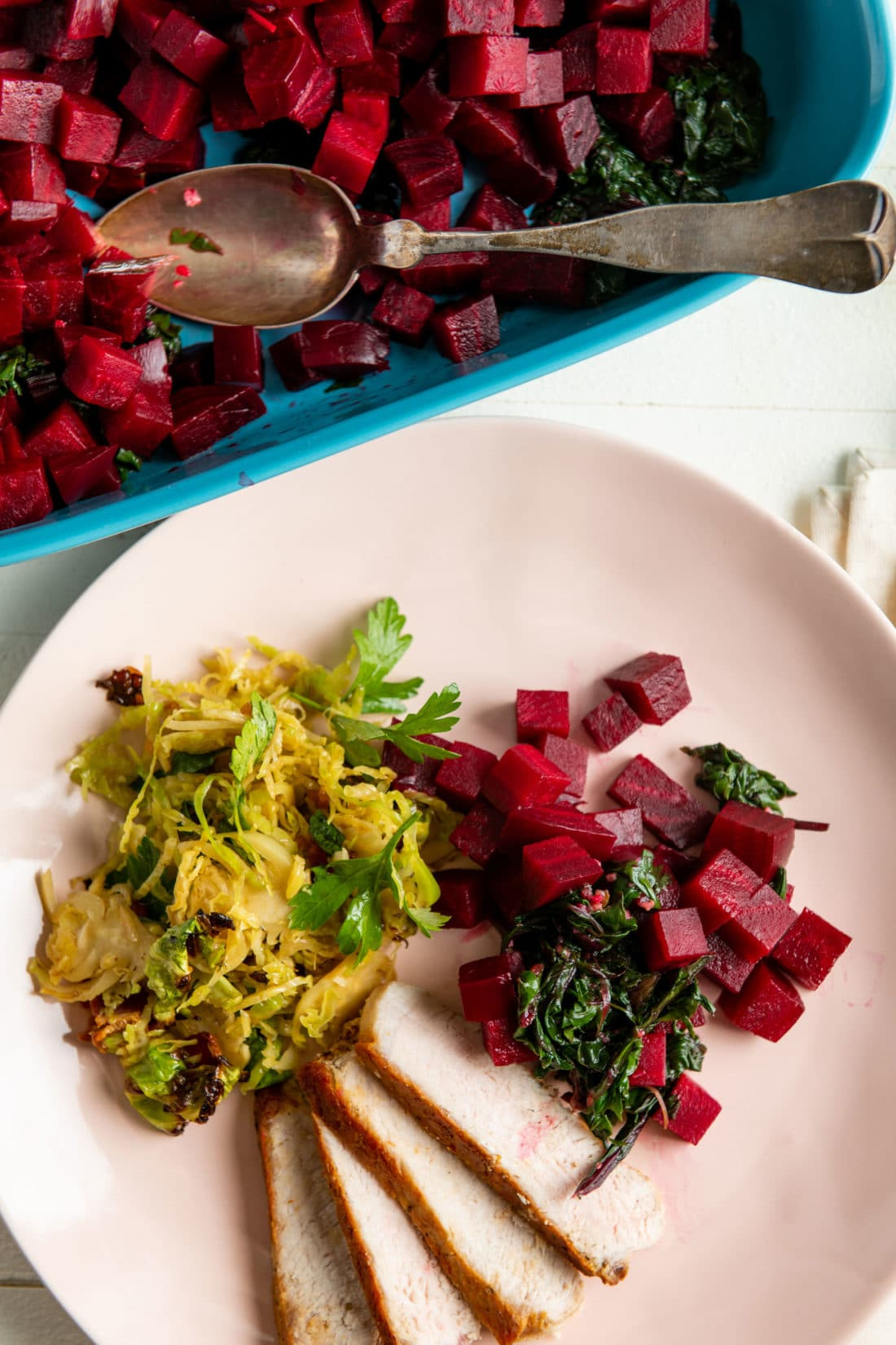 Beets and Sauteed Beet Greens