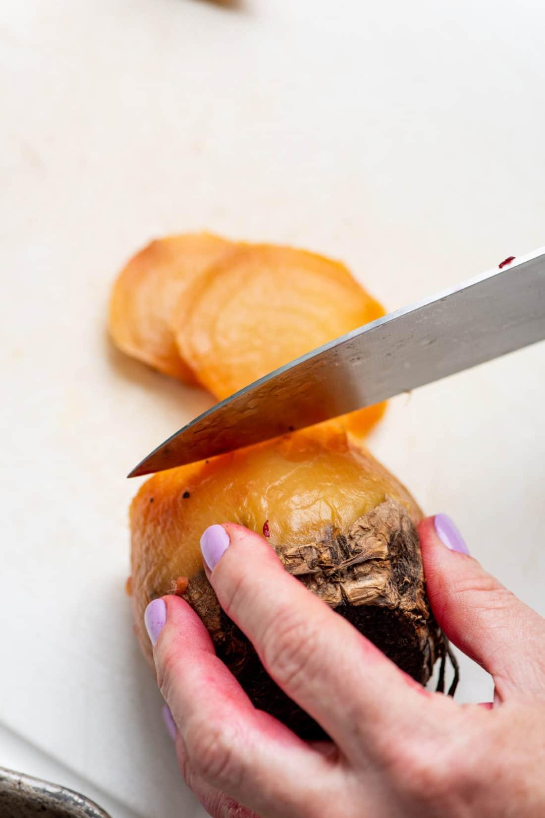 Slicing a golden beet