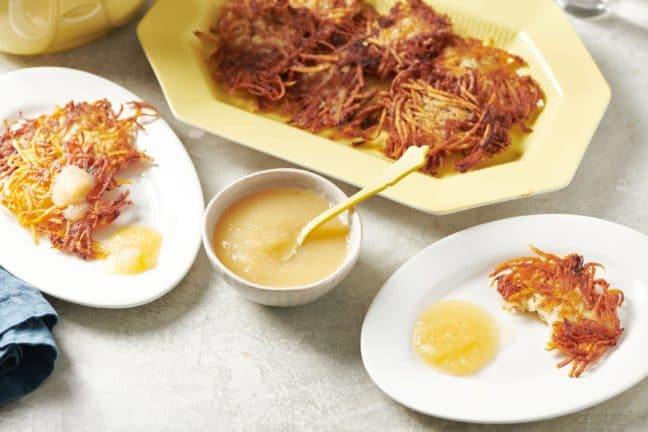 Apple sauce with potato latkes