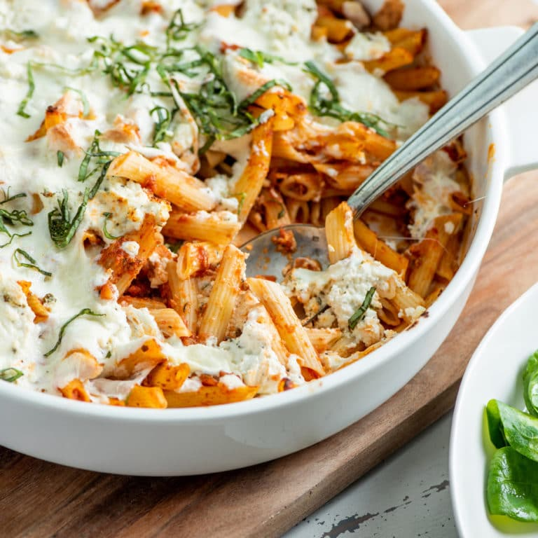Simple Baked Pasta with Bolognese Sauce / Katie Workman / themom100.com / Photo by Cheyenne Cohen