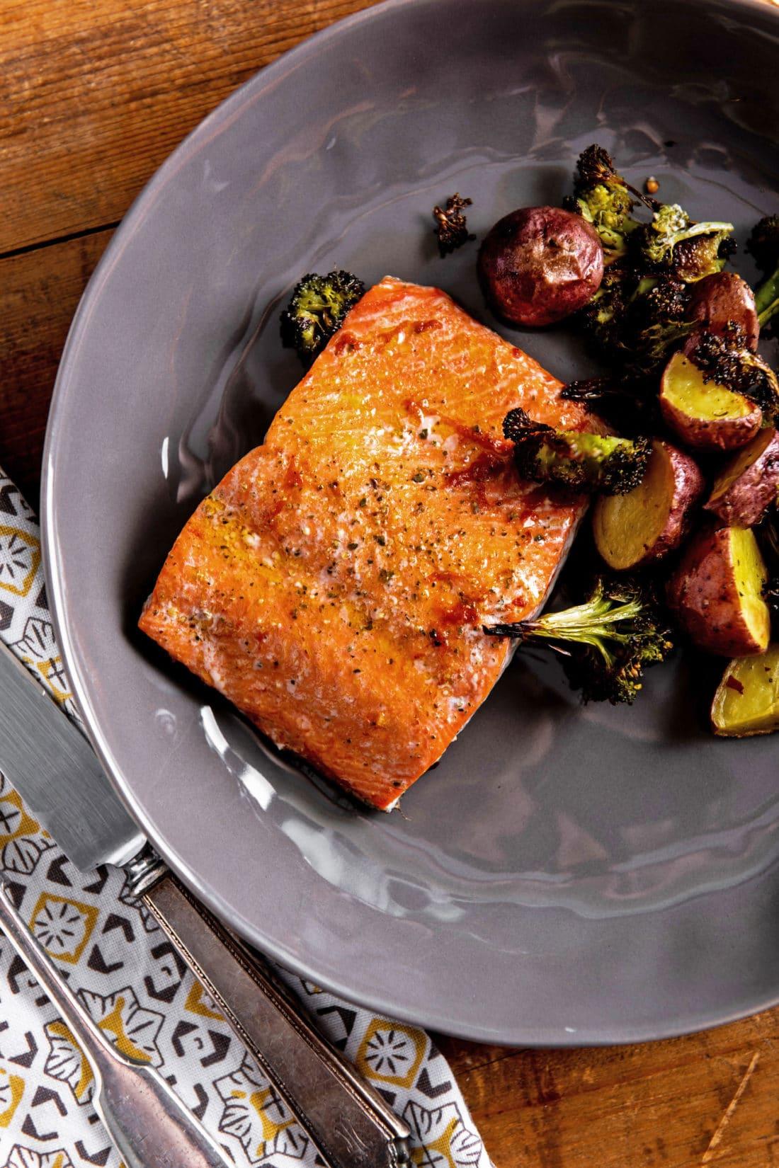 Salmon, Potato and Broccoli Sheet Pan Supper