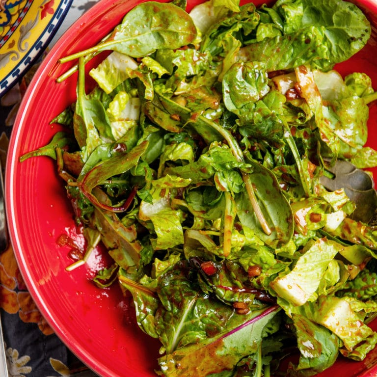 Spicy Greens Salad with Gochujang Dressing