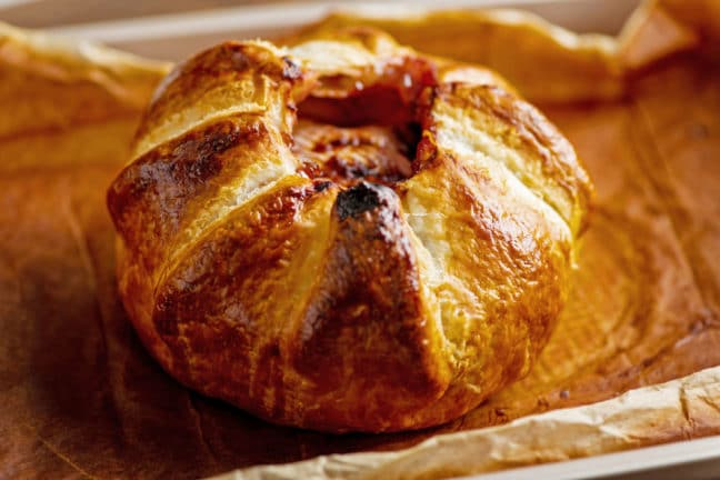 Baked Brie En Croute with Raspberry Jam