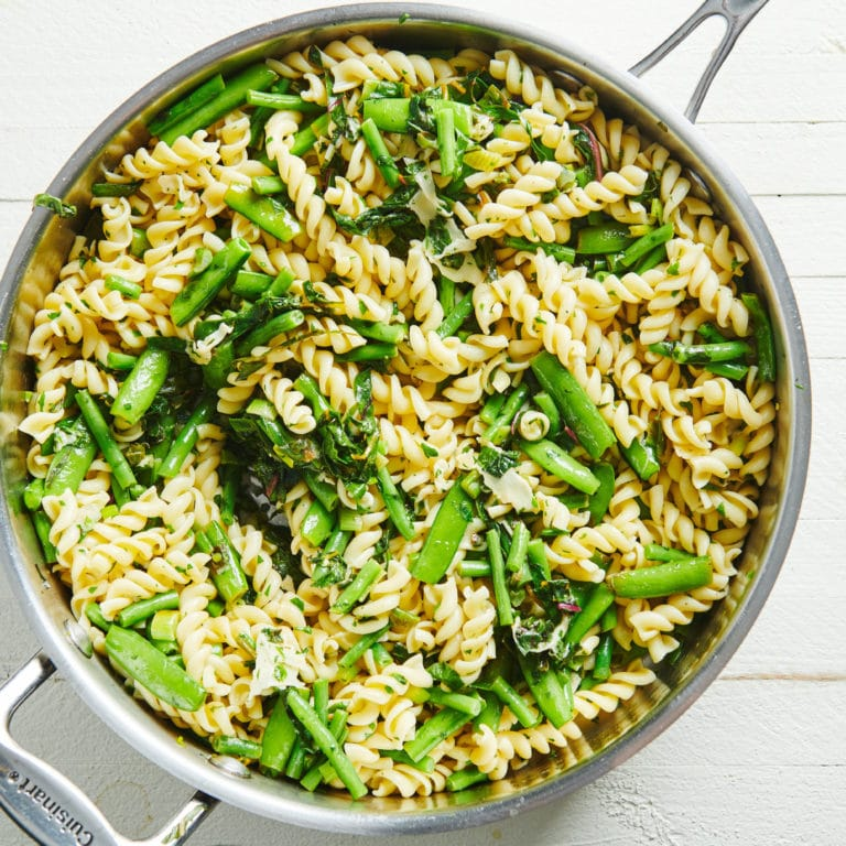 Lemony Rotini with Goat Cheese Sauce and Spring Vegetables