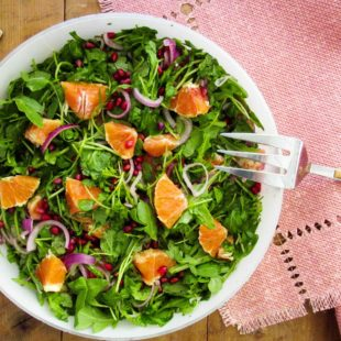 Arugula, Red Onion, Orange and Pomegranate Seed Salad with Lemon Vinaigrette