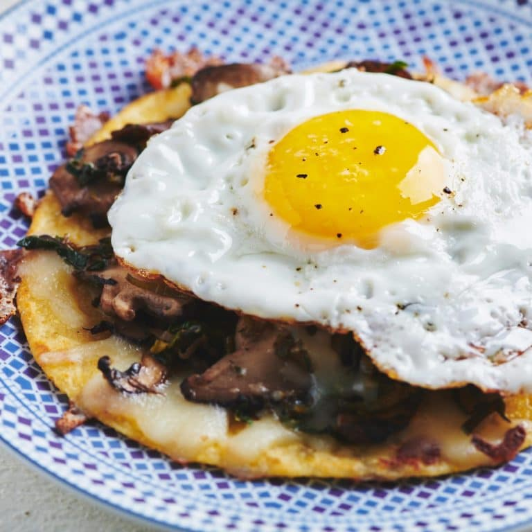 Fried Egg, Mushroom, Leek, and Cheese Tostadas