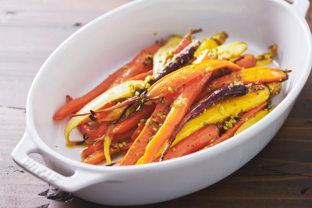 Roasted Carrots with Tapenade Dressing