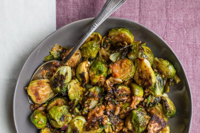 Spicy Roasted Brussels Sprouts with Kimchi Dressing