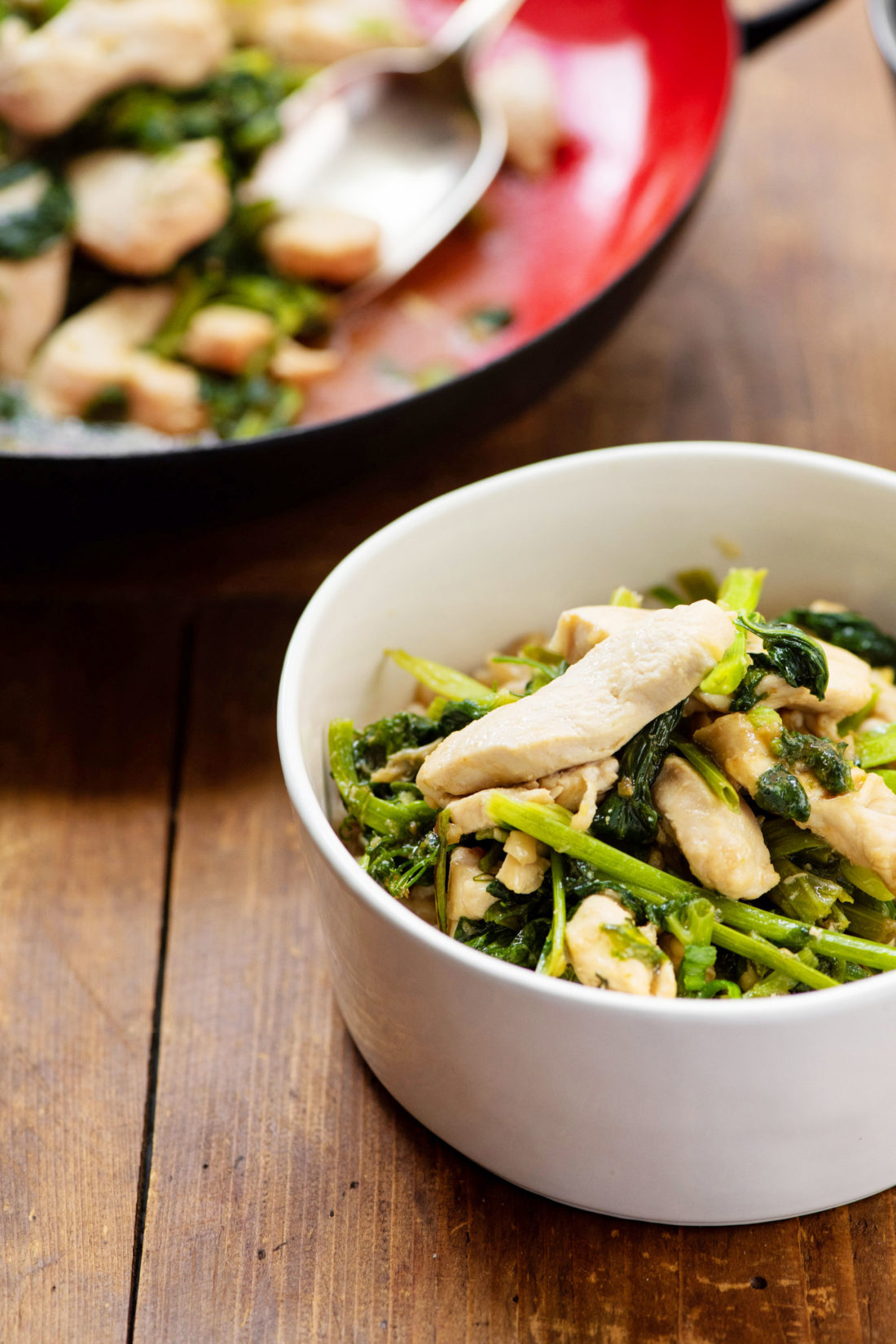 Stir Fried Chicken with Pea Shoots