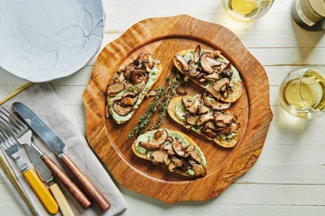 Mushroom Bruschetta with Herbed Mayonnaise