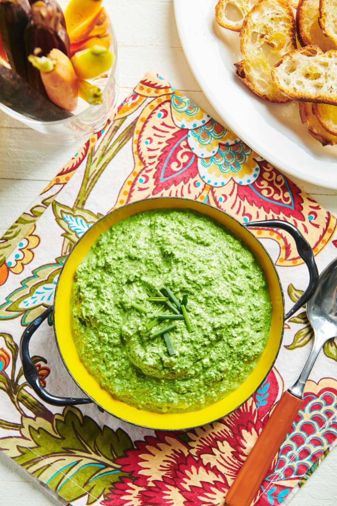 looking down on a bowl of spinach feta party dip