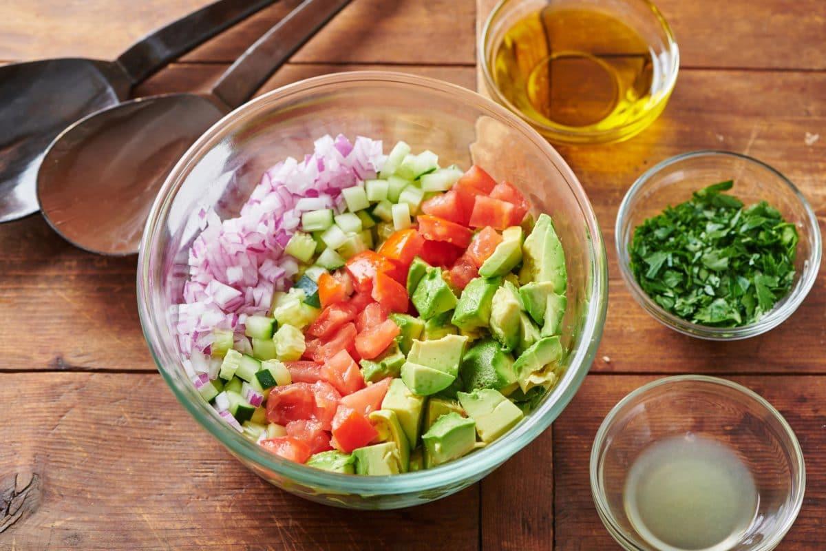 Tomato, Avocado and Cucumber Salad