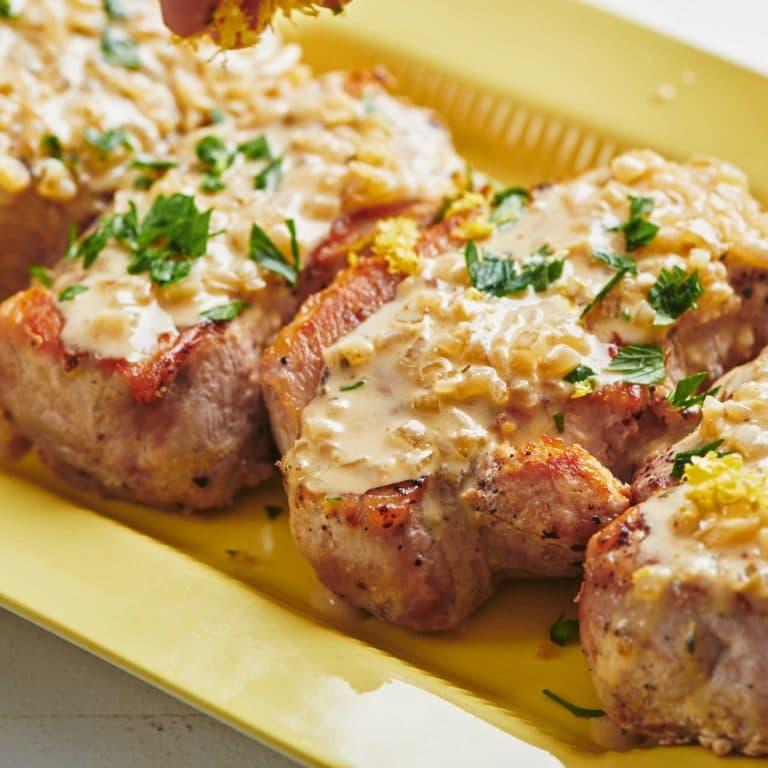 One Skillet Creamy Mustard Pork Chops