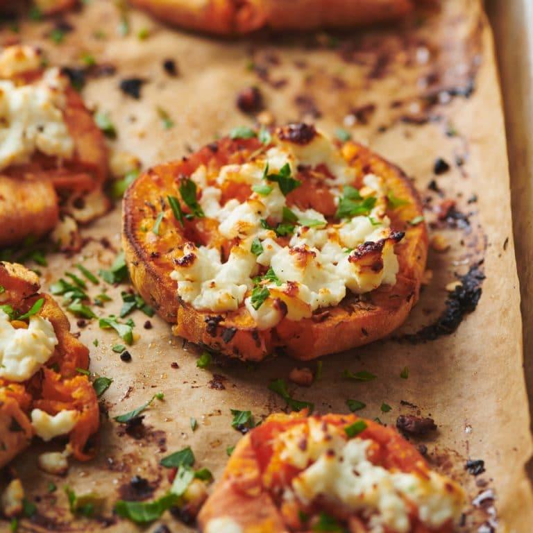 Smashed Garlic Butter Sweet Potatoes with Feta