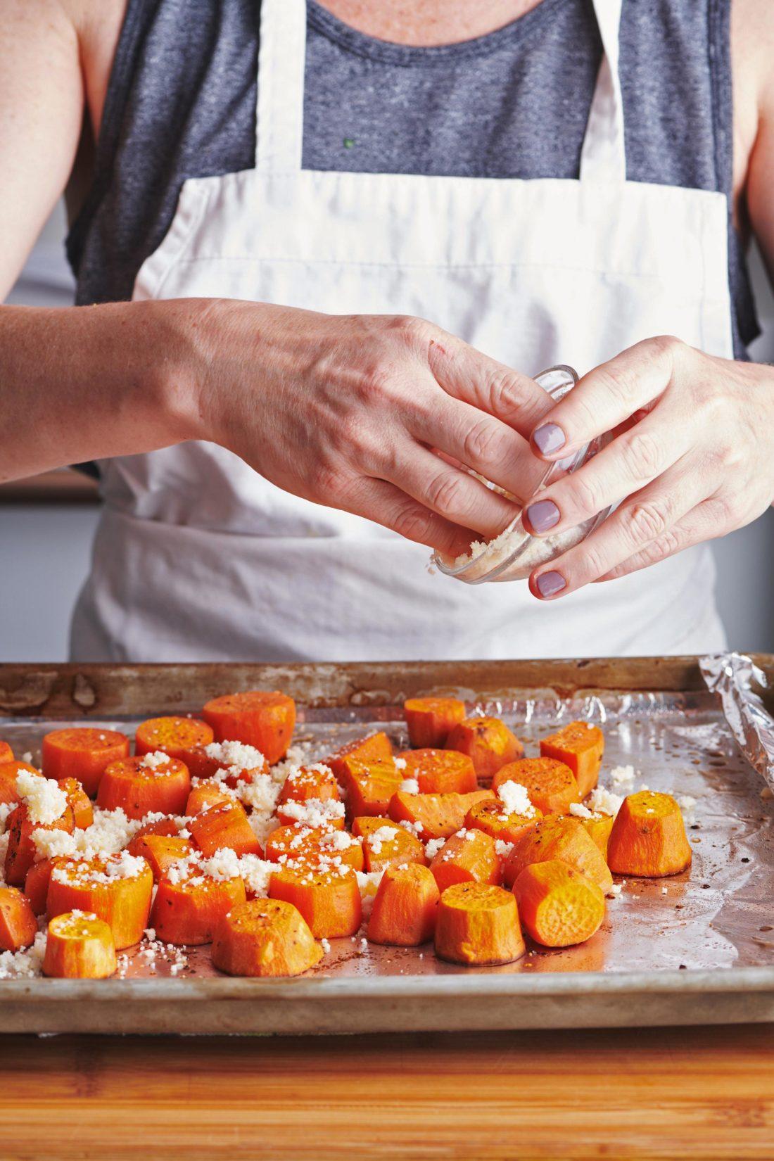 Garlic-Parmesan Sweet Potatoes