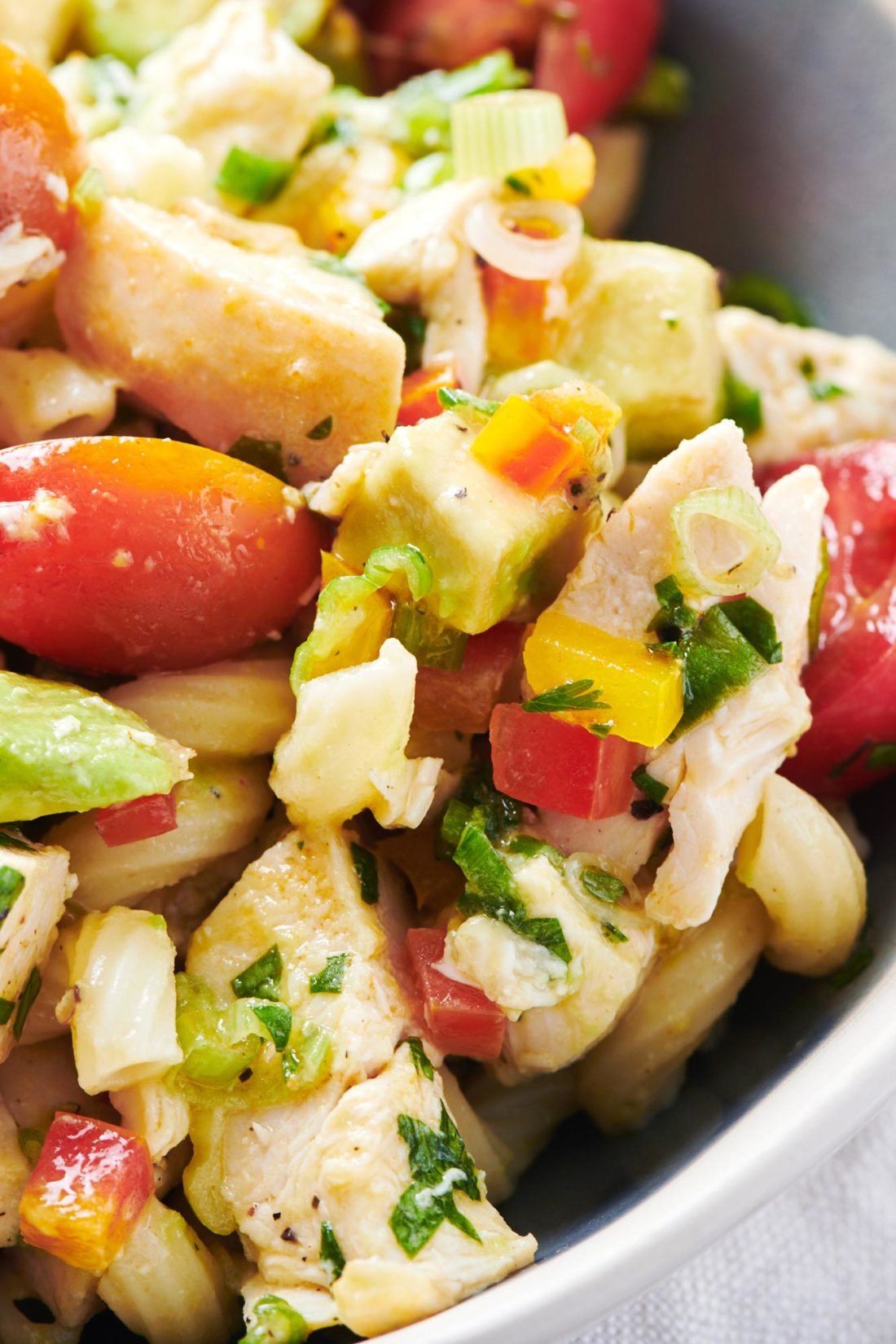 Pasta Salad with Chicken, Avocado and Tomato