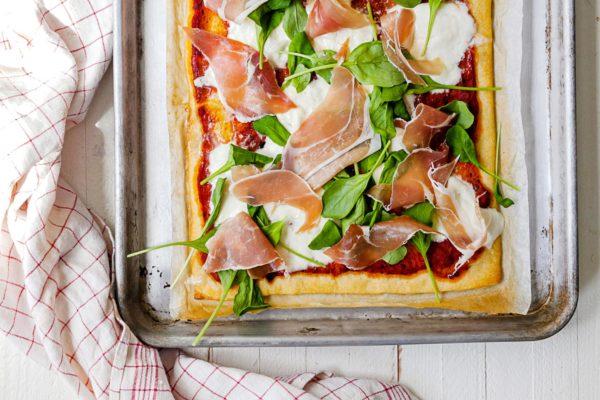 Burrata and Prosciutto Pizza