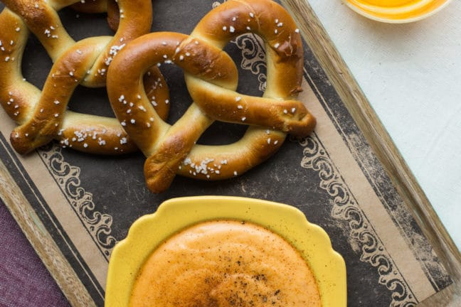 Cheese Beer Dip with Hot Pretzels