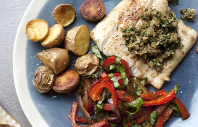 Pan-Seared Fish with Peppers and Caper-Olive Pesto