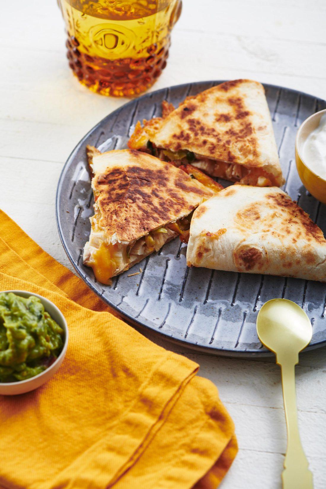 Overstuffed Chicken and Vegetable Quesadillas