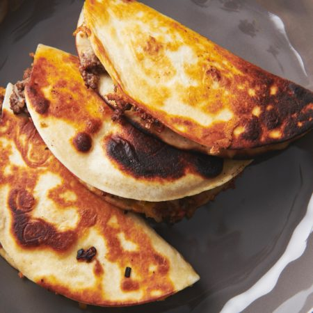 Cheesy Ground Beef and Vegetable Quesadillas