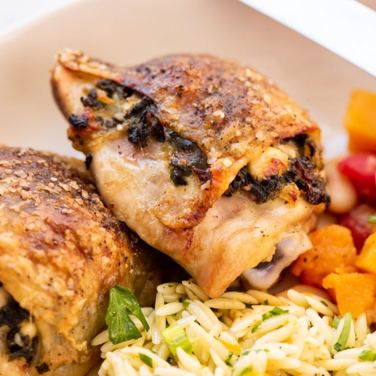 Spinach and Feta Stuffed Chicken Thighs