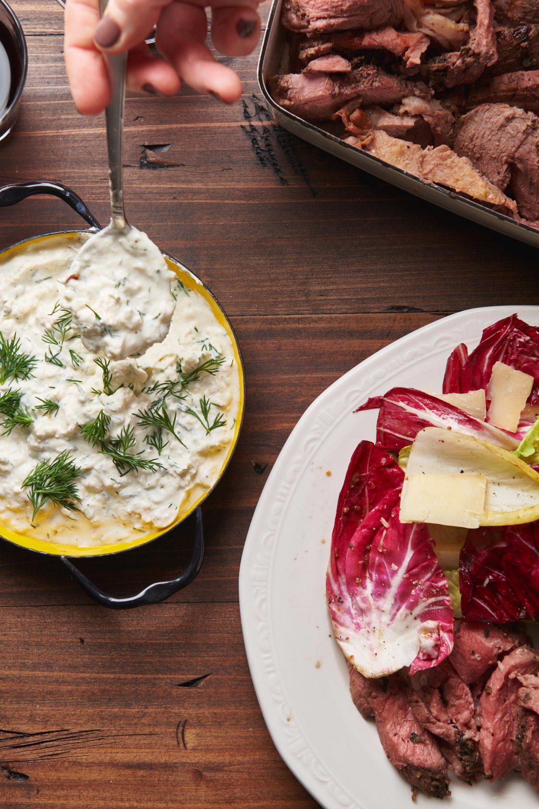 Greek-Style Butterflied Leg of Lamb with Feta Sauce
