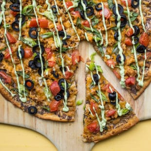 Mexican Pizza with Avocado Crema