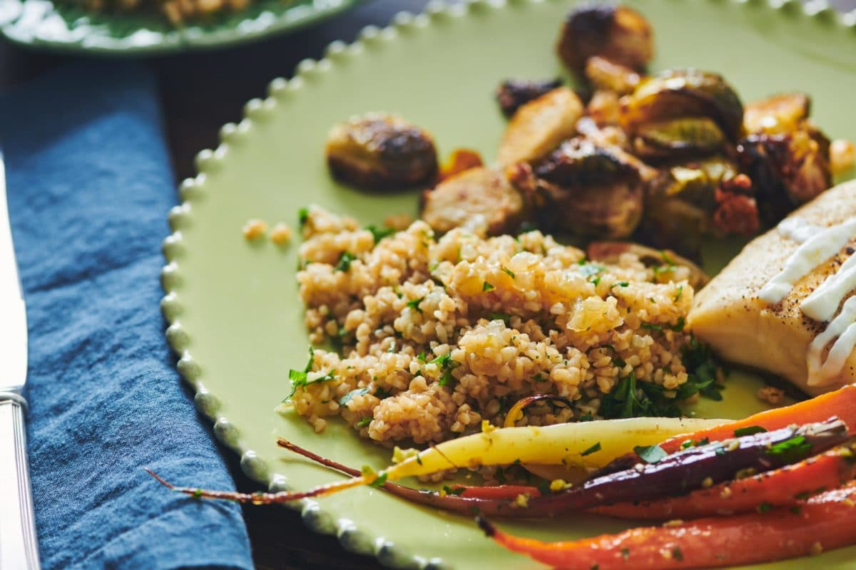 Bulgur Wheat with Caramelized Onions and Parsley