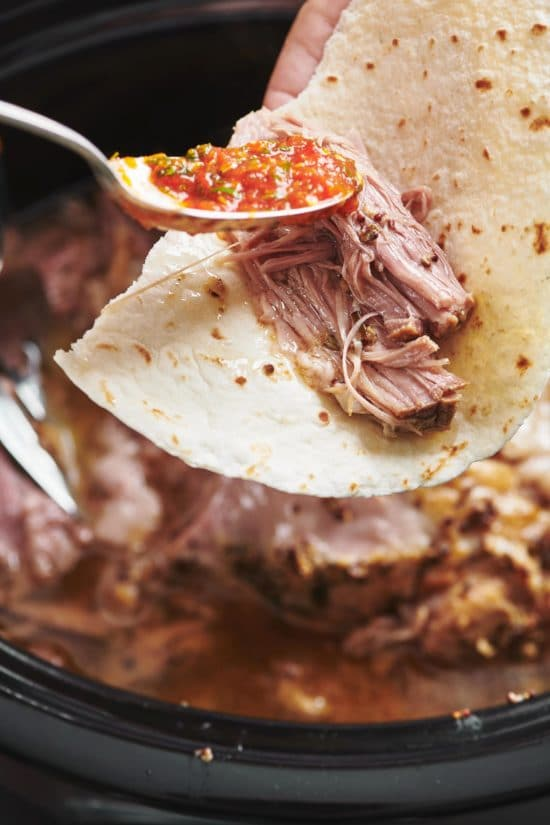 Slow Cooker Fall Apart Roasted Pork Butt with Brown Sugar, Garlic and Herbs