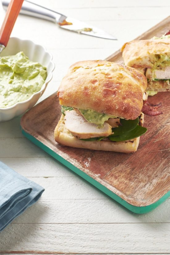 Chicken, Bacon, and Avocado Spread Sandwich