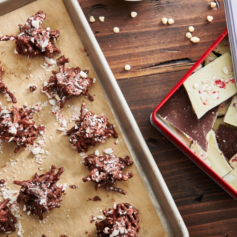 Peppermint Bark Holiday Haystack Cookies