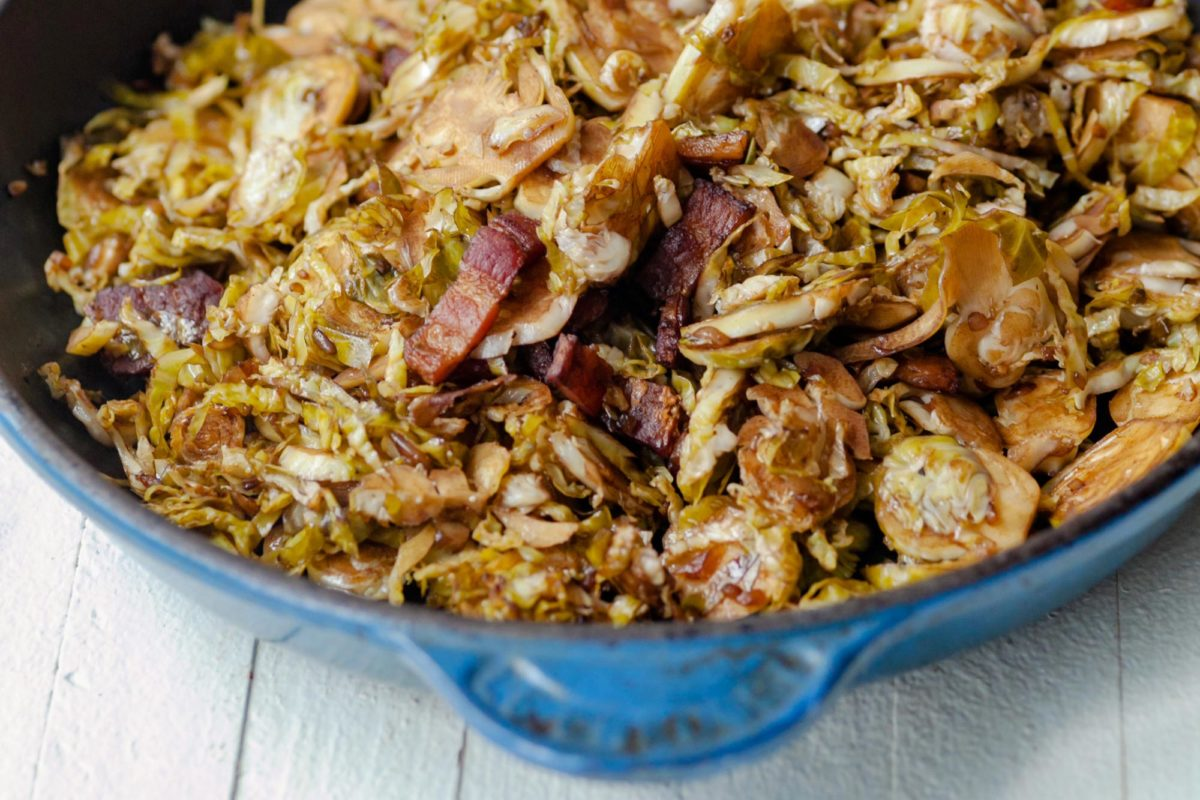Balsamic Glazed Shredded Brussels Sprouts with Bacon