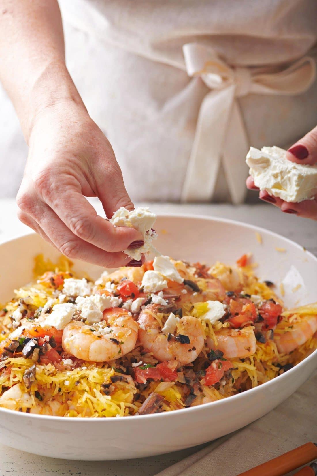 Greek-Style Spaghetti Squash with Shrimp